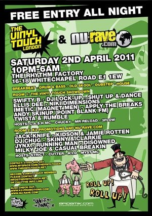 RUNNINGMAN & MC CUTTER - VINYL TOUCH / NU RAVE / GRAFFITI BREAKZ (FREE EVENT) 2nd April 2011