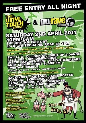 APPLY THE BREAKS - VINYL TOUCH / NU RAVE / GRAFFITI BREAKZ (FREE EVENT) 2nd April 2011